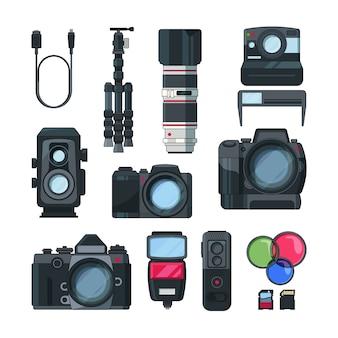 Câmeras fotográficas e de vídeo digitais em estilo cartoon