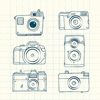 Câmeras fotográficas esboçado
