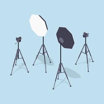 Câmeras fotográficas isométricas, tripés e softboxes