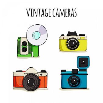 Câmeras polaroid bonitos desenhados mão
