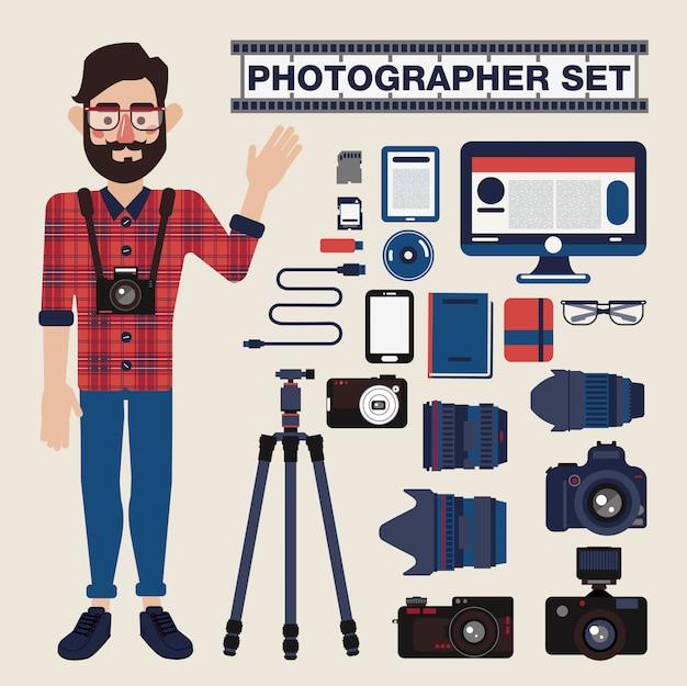 Câmeras profissionais do fotógrafo