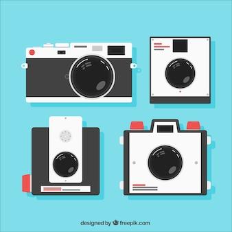 Câmeras retros no design plano
