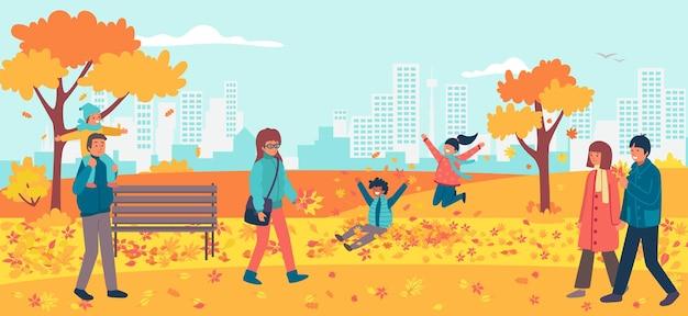 Caminhada alegre no parque nacional de outono com vários personagens