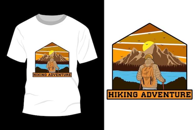 Caminhada aventura t-shirt maquete design vintage retro