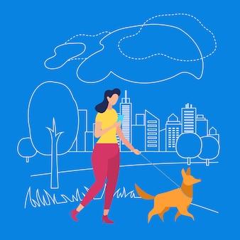 Caminhada da menina com o animal de estimação no parque. summertime na cidade