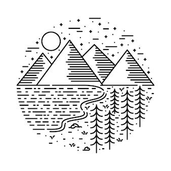 Caminhada de acampamento no lago natureza selvagem linha gráfico ilustração arte t-shirt design