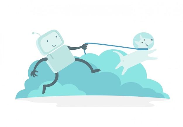 Caminhada de homem robô astronauta personagem corre com cachorro na coleira. cachorro corre à frente. ilustração de cor lisa