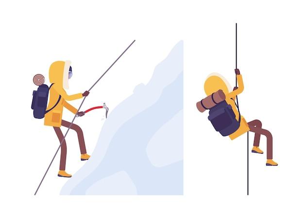Caminhada de inverno mulher alpinismo