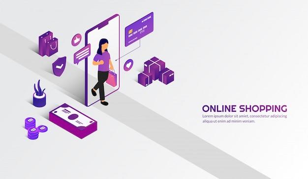 Caminhada de mulher isométrica para o conceito de compras on-line