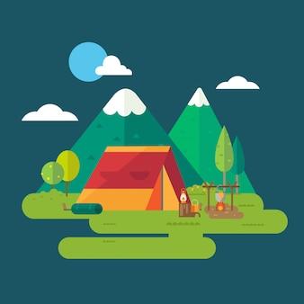 Caminhada e acampamento
