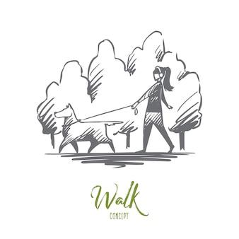 Caminhada ilustração desenhada à mão