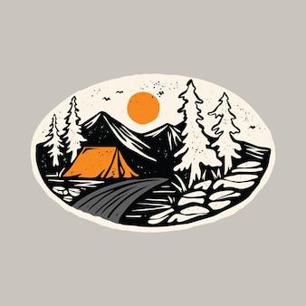 Caminhada no acampamento e beleza natural com rio colorido design de t-shirt de ilustração gráfica
