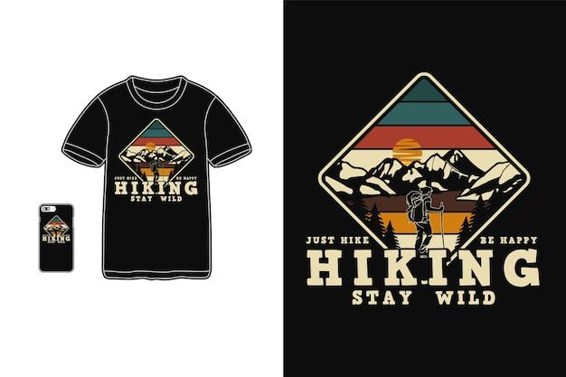 Caminhada, permaneça selvagem design para camiseta estilo retro silhueta