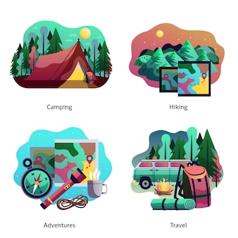 Caminhadas acampar conceito abstrato