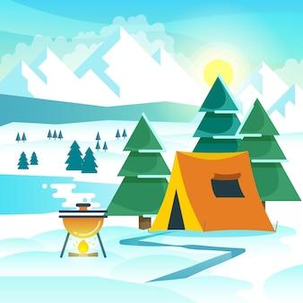 Caminhadas de inverno de fundo vector com tenda e fogueira. caminhadas no inverno, caminhadas em viagens, aventura, turismo, caminhadas