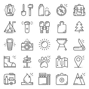 Caminhadas e acampamentos conjunto de ícones.