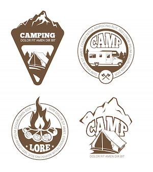 Caminhadas e camping retrô etiquetas, emblemas, logotipos, emblemas