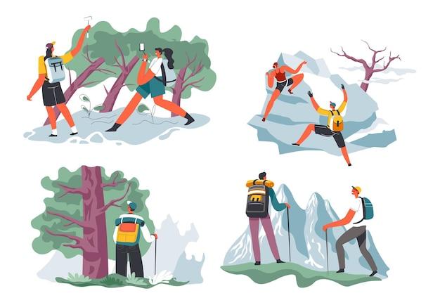 Caminhadas e escaladas em aventuras de montanhismo