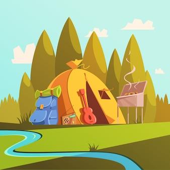 Caminhadas e fundo de tenda com floresta do rio e ilustração em vetor churrasco dos desenhos animados