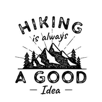 Caminhadas ilustração aventura logotipo. caminhar é uma boa ideia. com montanhas, árvores, raios de sol.