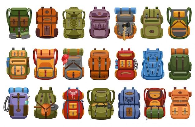 Caminhadas mochila dos desenhos animados definir ícone. mochila de ilustração em fundo branco. conjunto de desenhos animados ícone caminhadas mochila.