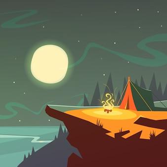 Caminhadas no fundo dos desenhos animados de noite com ilustração em vetor barraca fogo lua e estrelas