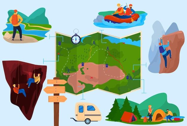 Caminhadas turismo conjunto de ilustração isolada.