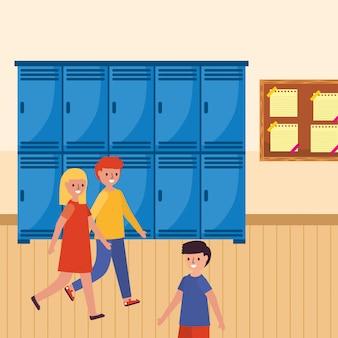Caminhando estudantes na escola