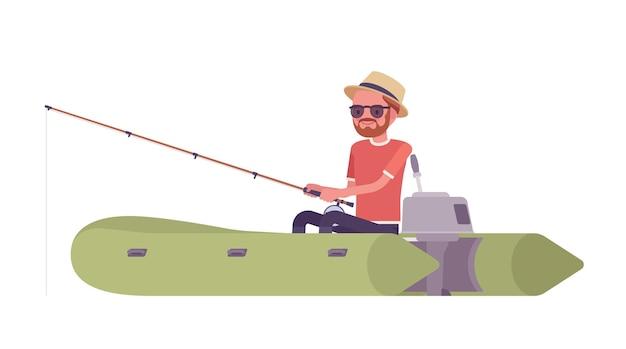 Caminhando homem pescando em um barco inflável
