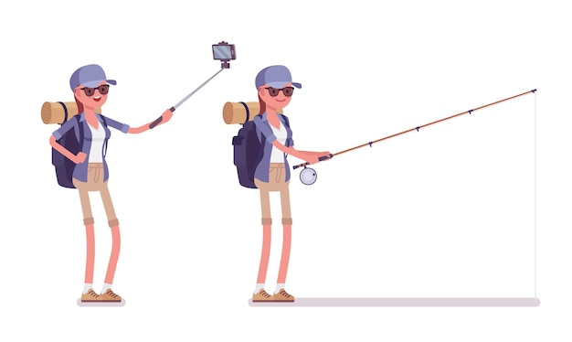 Caminhando selfie mulher, pesca Vetor Premium