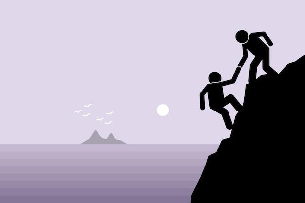 Caminhante ajudando um amigo no penhasco da montanha. conceito de suporte, trabalho em equipe, parceria e confiança.