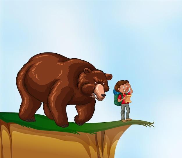 Caminhante e urso no penhasco
