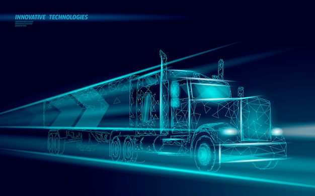 Caminhão abstrato de transporte baixo poli. camião van entrega rápida logística de transporte.