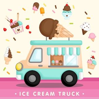 Caminhão azul de sorvete