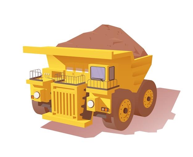 Caminhão basculante de mina amarelo carregado com minério ou sujeira