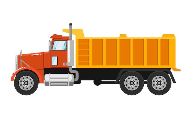 Caminhão basculante pesado isolado no branco