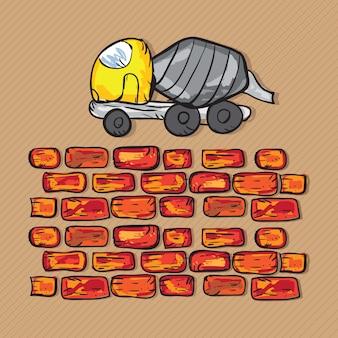 Caminhão betoneira com tijolos