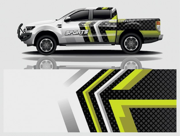 Caminhão carro decalque envoltório projeto vector