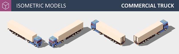 Caminhão comercial. ilustração isométrica em quatro dimensões.