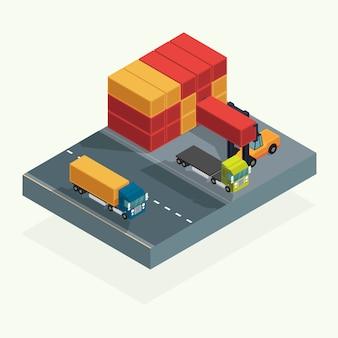 Caminhão da logística da carga e recipiente do transporte com o recipiente de carga de levantamento do caminhão de empilhadeira na jarda de envio. vetor de ilustração isométrica