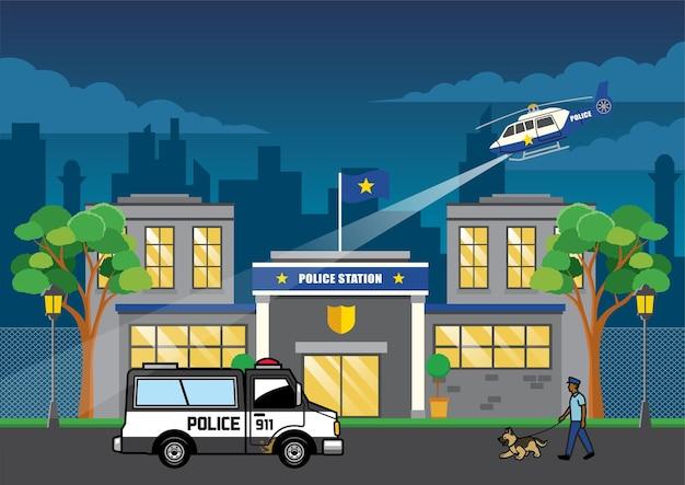Caminhão da polícia na delegacia