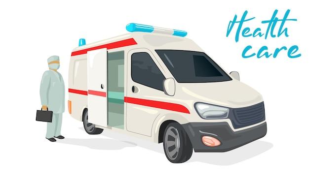 Caminhão de ambulância para médico doente com kit