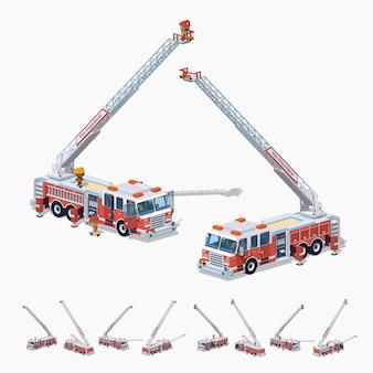 Caminhão de bombeiros 3d isométrico lowpoly