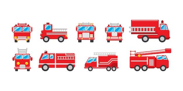 Caminhão de bombeiros definir coleção design gráfico clipart