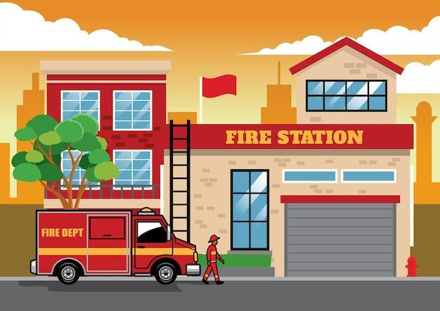 Caminhão de bombeiros na estação de bombeiros