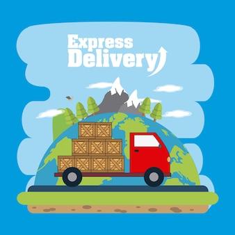 Caminhão de carga com caixas sobre o design gráfico de ilustração vetorial do mapa mundo