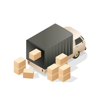 Caminhão de carga com caixas.