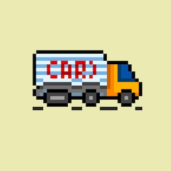 Caminhão de carga com estilo pixel art