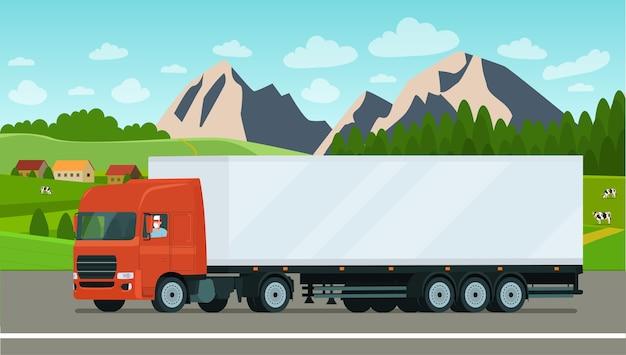 Caminhão de carga com um motorista mascarado em um fundo de paisagem.