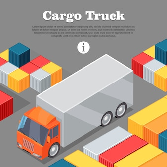 Caminhão de carga e banner da web de contêineres intermodais.
